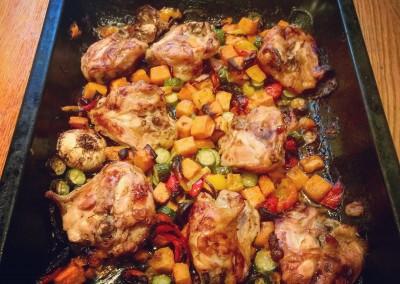 Chicken with Sweet Vegetables & Honey Orange Jus
