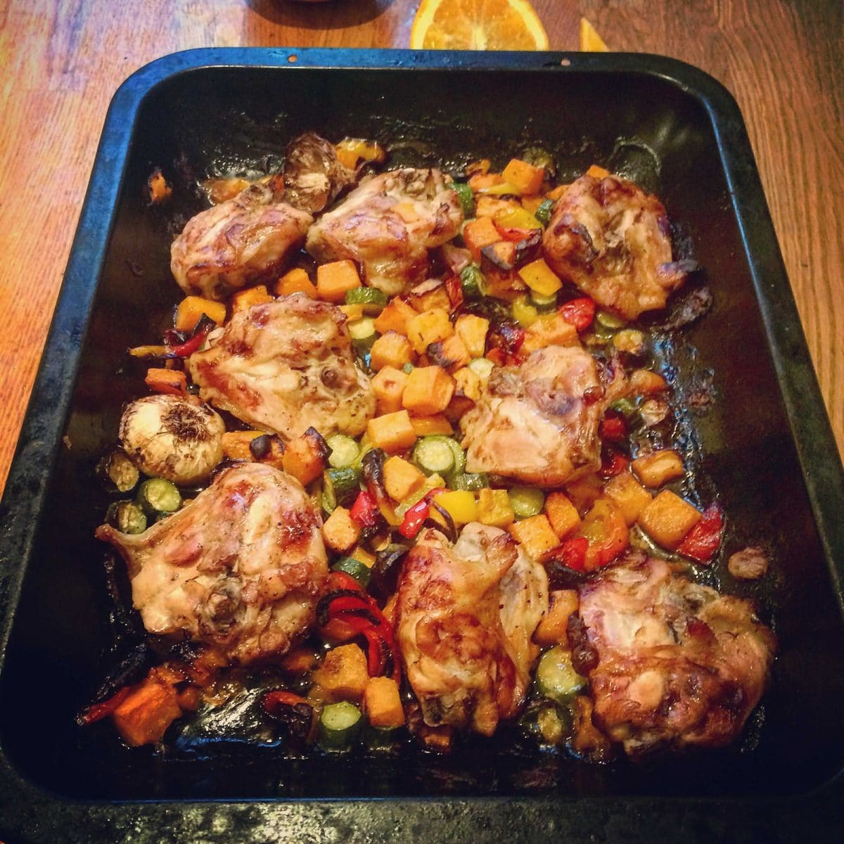 Chicken in the oven with veggies and honey recipe