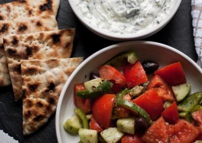 Tzatziki, Greek Salad & Pita Bread Starter