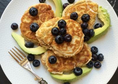 Banana Pancakes with Avocado & Blueberries
