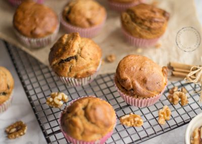 Banana Muffins with Dates & Walnuts