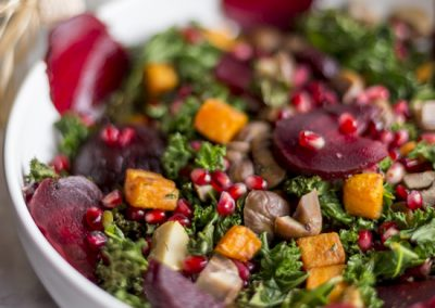 Christmas Kale Salad with Chestnuts & Veg